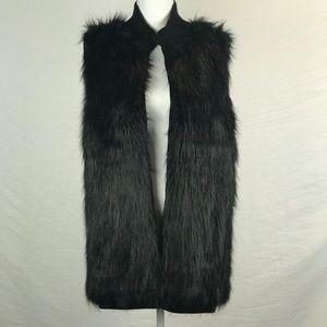 Calvin Klein Black Faux Fur Vest With Knit Collar